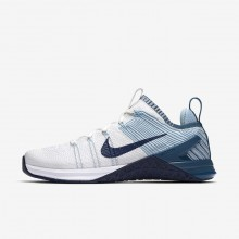 Womens White/Mica Blue/Night Factor/Navy Nike Metcon DSX Flyknit 2 Training Shoes 122RCDFH