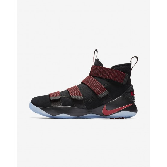 Womens Black/Red Stardust/Gym Red Nike LeBron Soldier XI Basketball Shoes 123FRVQL