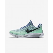 Womens Blue Moon/Vapor Green/Green Glow/Dark Obsidian Nike LunarEpic Low Flyknit 2 Running Shoes 130XKZER