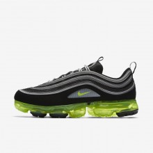 Mens Black/Metallic Silver/White/Volt Nike Air VaporMax 97 Lifestyle Shoes 136BNAGP