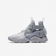 Boys Wolf Grey/Black/White Nike Huarache City Lifestyle Shoes 164SJTZQ