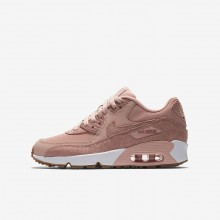 Nike Air Max 90 SE Leather Lifestyle Shoes For Girls Coral Stardust/White/Gum Light Brown/Rust Pink 174DQEZH