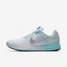 Womens White/Glacier Blue/Polarized Blue/Metallic Silver Nike Air Zoom Structure 21 Running Shoes 182IOJZR