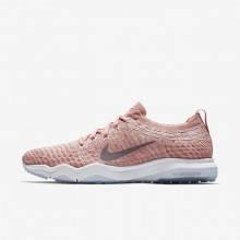 Womens Rust Pink/White/Gunsmoke Nike Air Zoom Fearless Flyknit Lux Training Shoes 188BCLXA