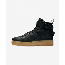 Womens Black/Gum Light Brown Nike SF Air Force 1 Mid Lifestyle Shoes 192JWAET