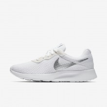Womens White/Metallic Silver Nike Tanjun Lifestyle Shoes 202SBUVD