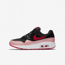Girls Black/Bleached Coral/Speed Red Nike Air Max 1 QS Lifestyle Shoes 216NEJRF