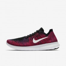 Boys Black/Total Crimson/University Red/Pure Platinum Nike Free RN Flyknit 2017 Running Shoes 218ZVIKQ