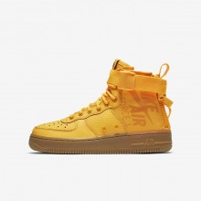 Boys Laser Orange/Gum Medium Brown Nike SF Air Force 1 Mid Lifestyle Shoes 235USQNA