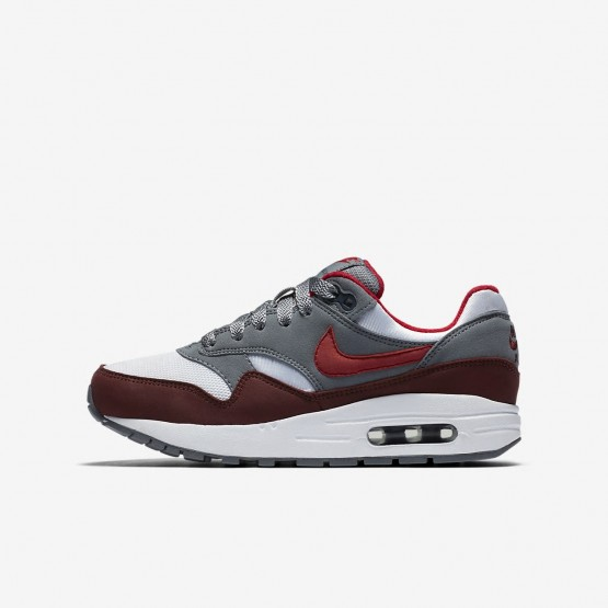 Boys White/Cool Grey/Team Red/University Red Nike Air Max 1 Lifestyle Shoes 235WCPRA
