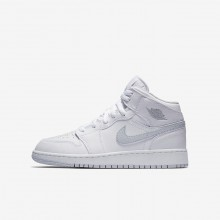 Air Jordan 1 Mid Lifestyle Shoes For Boys White/Pure Platinum 250ZBQIG