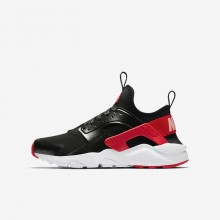 Nike Air Huarache Run Ultra QS Lifestyle Shoes For Girls Black/Bleached Coral/Speed Red 258FHZQA