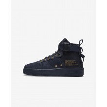 Boys Obsidian/Black Nike SF Air Force 1 Mid Lifestyle Shoes 268JLGQN