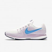 Womens Summit White/Elemental Rose/Thunder Blue/Equator Blue Nike Air Zoom Pegasus 34 Running Shoes 281PICGK