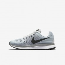 Boys Pure Platinum/Cool Grey/Wolf Grey/Anthracite Nike Zoom Pegasus 34 Running Shoes 285RYXHO