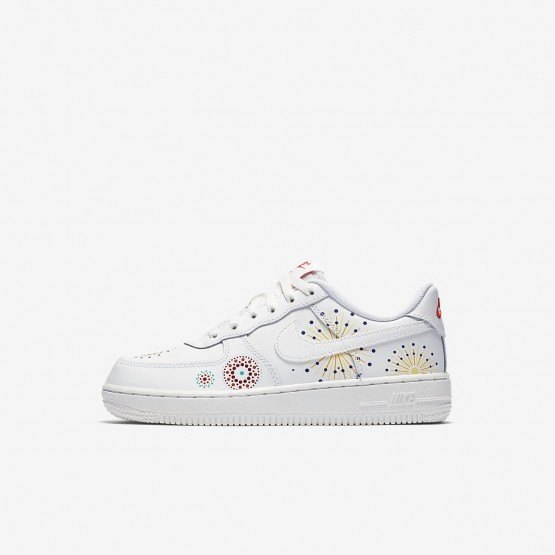 Boys Summit White/Habanero Red/Kinetic Green Nike Air Force 1 Pinnacle QS Lifestyle Shoes 285WGMZH