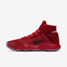 Womens University Red/Reflect Silver Nike React Hyperdunk 2017 Flyknit Basketball Shoes 304KEMHP