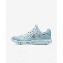 Womens Glacier Blue/Polarized Blue/Wolf Grey/Metallic Silver Nike LunarEpic Low Flyknit 2 Running Shoes 311CBHQK