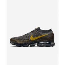 Mens Black/Dark Grey/Mineral Gold Nike Air VaporMax Flyknit Running Shoes 319OWMVI