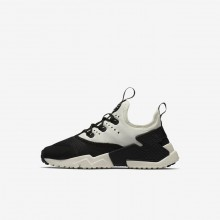 Boys Black/White/Sail Nike Huarache Run Drift Lifestyle Shoes 321QBROJ