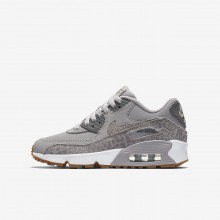 Nike Air Max 90 SE Leather Lifestyle Shoes For Girls Atmosphere Grey/White/Gum Light Brown/Gunsmoke 323KYBJV
