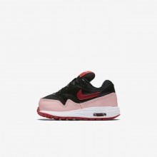 Girls Black/Bleached Coral/Speed Red Nike Air Max 1 QS Lifestyle Shoes 328EABSV