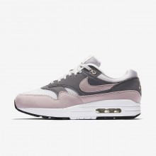 Womens Vast Grey/Gunsmoke/Black/Particle Rose Nike Air Max 1 Lifestyle Shoes 329TUBQI