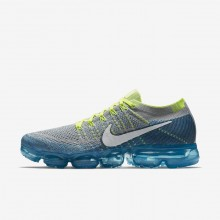 Mens Wolf Grey/Chlorine Blue/Photo Blue/White Nike Air VaporMax Flyknit Running Shoes 333EAQWM