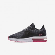 Girls Black/Anthracite/Cool Grey/Racer Pink Nike Air Max Sequent 3 Running Shoes 343UHMCS