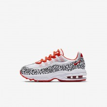 Boys White/Black/Bright Crimson Nike Air Max 95 QS Lifestyle Shoes 345KLOAF