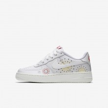 Nike Air Force 1 Pinnacle QS Lifestyle Shoes For Boys Summit White/Habanero Red/Kinetic Green 350ZDPFS