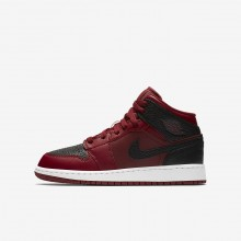 Air Jordan 1 Mid Lifestyle Shoes For Boys Team Red/Summit White/Gym Red 357KUYXO