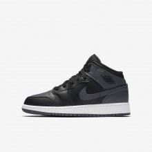 Air Jordan 1 Mid Lifestyle Shoes For Boys Black/Summit White/Dark Grey 363JPNHC