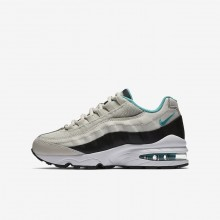 Boys Light Bone/Black/White/Sport Turquoise Nike Air Max 95 Lifestyle Shoes 377SXNYM