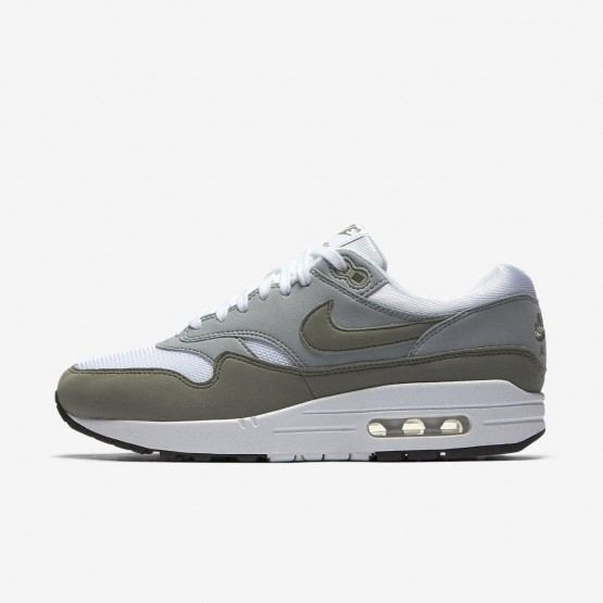 Womens White/Light Pumice/Black/Dark Stucco Nike Air Max 1 Lifestyle Shoes 391SNBMU