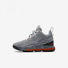 Boys Black/Dark Grey/Cool Grey/Safety Orange Nike LeBron 15 Basketball Shoes 396VJPCR