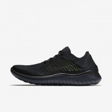Mens Black/Anthracite Nike Free RN Flyknit 2018 Running Shoes 422PXARB