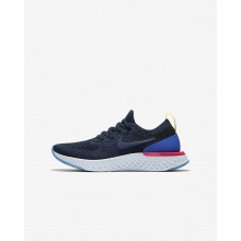 Boys College Navy/Racer Blue/Pink Blast Nike Epic React Flyknit Running Shoes 424SZFCD