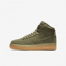 Nike Air Force 1 High WB Lifestyle Shoes For Boys Medium Olive/Gum Light Brown/Black 426WUALK