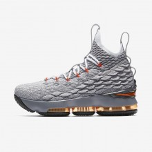 Boys Black/Dark Grey/Wolf Grey/Safety Orange Nike LeBron 15 Basketball Shoes 433PNILY