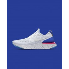 Womens White/Racer Blue/Pink Blast Nike Epic React Flyknit Running Shoes 438XYJOU
