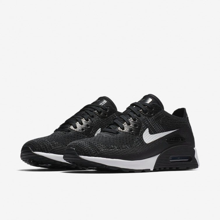 a1ac97fbce39a ... Zapatillas Casual Nike Air Max 90 Ultra 2.0 Flyknit Mujer Negras Gris  Oscuro Blancas