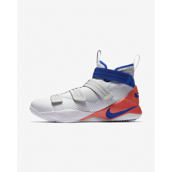 Nike LeBron Soldier XI SFG Basketball Shoes For Women White/Infrared/Pure Platinum/Racer Blue 447CHXMP