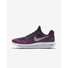 Womens Black/Hyper Punch/Persian Violet/Metallic Silver Nike LunarEpic Low Flyknit 2 Running Shoes 453QHDFW