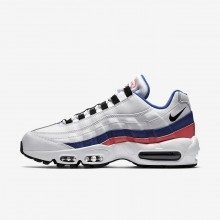 Mens White/Solar Red/Ultramarine/Black Nike Air Max 95 Essential Lifestyle Shoes 453QYEGT