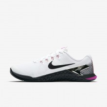Womens White/Fuchsia Blast/Laser Orange/Black Nike Metcon 4 Training Shoes 453VYOUL