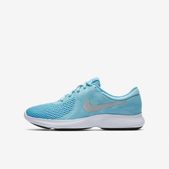 Girls Bleached Aqua/Light Blue Fury/White/Metallic Silver Nike Revolution 4 Running Shoes 463CPZHR