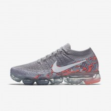 Nike Air VaporMax Flyknit Running Shoes For Women Atmosphere Grey/White/Hot Punch 469SWUFI