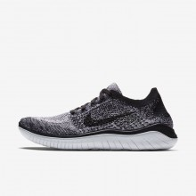 Womens White/Black Nike Free RN Flyknit 2018 Running Shoes 478BIKZU
