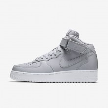 Mens Wolf Grey/White Nike Air Force 1 Mid 07 Lifestyle Shoes 481SAZBW